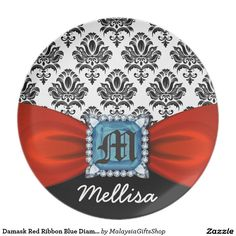 Damask Red Ribbon Blue Diamond Monogram And Name Party Plates
