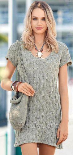 www.SHPULYA.com - Вязаное платье и сумка спицами