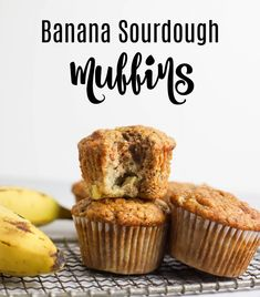 These banana sourdough muffins are a delicious way to use your sourdough discard and couldn't be simpler to make! Quick muffin batter spiced with cinnamon, and made with sourdough discard. Yogurt Muffins, Baking Muffins, Mini Muffins, Healthy Banana Recipes, Healthy Muffins, Muffin Recipes, Breakfast Recipes, Homemade Muffins, Most Delicious Recipe