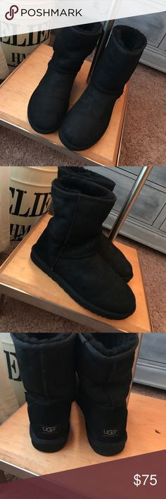 Classic Black Ugg Boots Super comfy in really good condition. Natural ware as seen in pictures. Size 10 UGG Shoes Ankle Boots & Booties