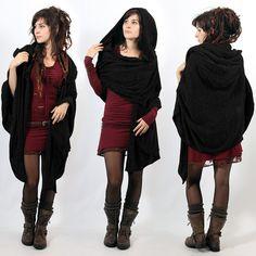 """Hygdrazil hood scarf """"Danae"""", Black"""