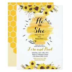 Shop Bee Sunflower He or She Gender Reveal Invitation created by HappyPartyStudio. Invitation Baby Shower, Gender Reveal Party Invitations, Bee Invitations, Floral Invitation, Invite, Bee Gender Reveal, Couples Baby Showers, Baby Shower Flowers, Happy Party