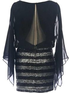 Sequin Goddess Twofer: Features an elegant bateau neck with single button closure at nape, slitted backside for a sexy open back accent, ethereal kimono sleeves eloquently draped on each side, and a mesmerizing striped sequin skirt to finish.