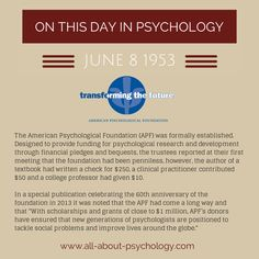 June 8th 1953. The American Psychological Foundation (APF) was formally established in order to provide funding for psychological research and development through financial pledges and bequests.  #AmericanPsychologicalFoundation #psychology