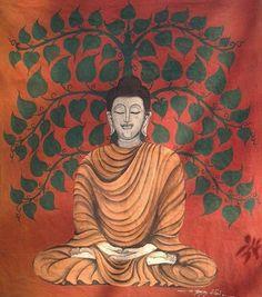 Buddha quiet painting on cotton #buddhapainting #paintingbyhand #buddhaart #artgallery #srichum #sukhothaihistoricalpark