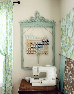 Frame the thread spool holder above the sewing machine on the future craft room❤