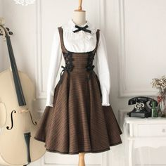 ● ● Mocha original design forest-vintage retro thin wool dress breast care Dress ● -- $36