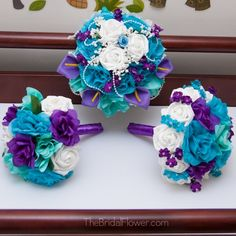 purple and aqua wedding | Wedding bouquet in purple, turquoise and aqua teal mermaid style