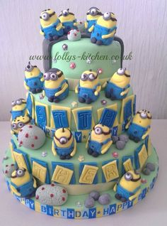 Many minions! - by LollysKitchen @ CakesDecor.com - cake decorating website