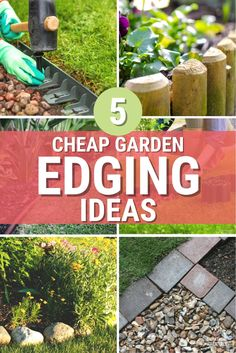 Five cheap garden edging ideas you can use in your garden and home landscape will make your outdoors look amazing. #landscaping #eding #gardenedging Garden Edging, Garden Beds, Front Yard Landscaping Pictures, Rock Edging, Above Ground Garden, Edging Ideas, Landscape Plans, House Front