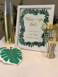 Mimosa bar sign for a tropical baby shower. Boho Baby Shower, Safari Baby Shower Cake, Baby Girl Shower Themes, Baby Shower Table, Baby Shower Signs, Tent Baby Shower, Classy Baby Shower, Bridal Shower, Hawaiian Baby Showers