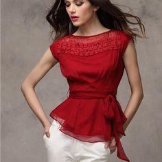 Girl Fashion, Fashion Outfits, Womens Fashion, Red Chiffon, Chiffon Shirt, Blouse And Skirt, Blouse Patterns, Blouse Styles, Corsage
