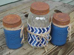 Blue Mason Jar Canister Set Kitchen Jar Storage by Rustic4You