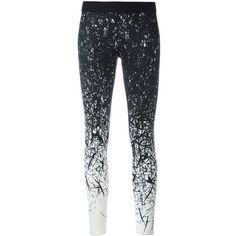 Reebok brushes print leggings featuring polyvore, women's fashion, clothing, pants, leggings, black, reebok, patterned pants, print leggings, print pants and patterned leggings