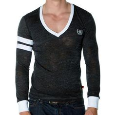 SKINNY Core Collegiate Tee by Andrew Christian in Vintage Black