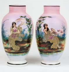 19th Century Stunning English Pair of Victorian Satin Pink Painted Glass Vase