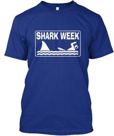 Shark Week Women's & Men's Hanes T Shirts. White design.
