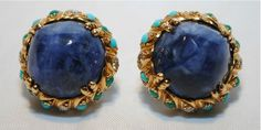 VINTAGE TIFFANY & CO. LAPIS, DIAMOND, TURQUOISE, & AGATE EARRINGS - 30K USD Value