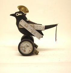 Assemblage bird sculpture