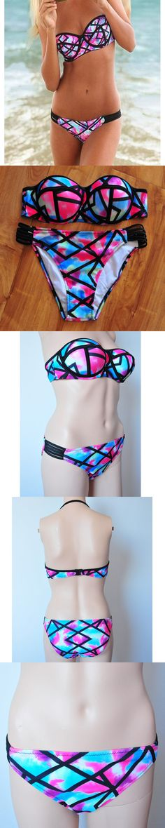 Sexy Strapless Bikinis Women Push-up Padded Brazilian Bikini Floral Print Swimsuit Bandage Swimwear Bathing Suit Maillot de bain $17.97