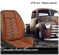 Pro Series Seats for Restoration and Restomod Cars and Trucks - Find Yours Today at canadaseatskins.com #restomod #leather