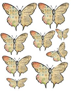 How to make vintage-style paper butterflies - Give Details Free Digital Scrapbooking, Butterfly Crafts, Butterfly Art, Butterfly Mobile, Illustrations Vintage, Paper Art, Paper Crafts, Paper Butterflies, Collage Sheet