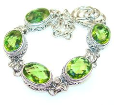 $96.85 Dazzling Peridot Quartz Sterling Silver bracelet at www.SilverRushStyle.com #bracelet #handmade #jewelry #silver #quartz