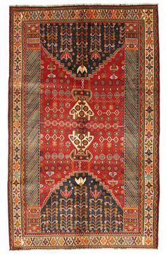 This carpet is knotted by nomads from the highlands in southwestern Persia. The carpet has a very high knot density for a nomad carpet and the motifs are among the most exciting and varying in carpets made by nomads.