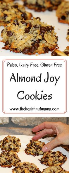 Paleo Almond Joy Cookies Gluten Free Dairy Free Soy Free Egg Free www thehealthnutm. Weight Watcher Desserts, Eat Better, Cocina Natural, Paleo Cookies, Almond Cookies, Delicious Cookies, Dairy Free Cookies, Recipe For Almond Joy Cookies, Egg White Cookies