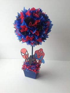 Spiderman Birthday party Decoration centerpiece by AlishaKayDesigns on Etsy