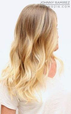 before & after, hair makeover, blonde, ombre, beachy waves