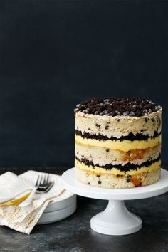 This Chocolate Chip Passion Fruit Naked Layer Cake Love and Olive Oil is a better for your dinner made with awesome ingredient. Christina Tosi, Pavlova, Layer Cake Recipes, Dessert Recipes, Passion Fruit Curd, Coffee Buttercream, Naked Cakes, Chocolate Chip Cake, Chocolate Cream