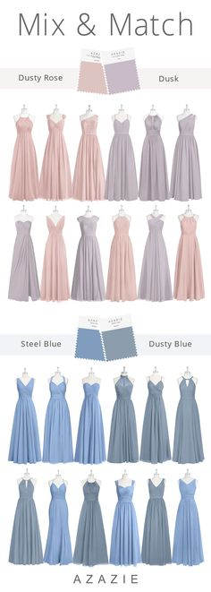 Wedding Color Mix and Match Wedding color mix and match. Shop the most popular wedding colors mix and match: dusty rose and dusk, dusty blue and steel blue. Shop bridesmaid dresses in c Bridesmaid Dresses Long Champagne, Spring Bridesmaid Dresses, Bridesmaid Dress Colors, Azazie Bridesmaid Dresses, Blue Bridesmaids, Wedding Dresses, Color Mix, Color Blue, Marie