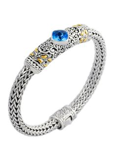 Cydonia 925 Sterling Silver and 18K Gold Blue Topaz Bracelet: CECILY - Circque Jewelry