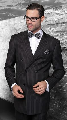 79d5e4c9cd9d52 Statement Italian Wool Double Breasted Suits Black Pinstripe TZD-300