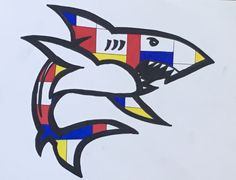 Students at Collins Middle School in Corsicana, TX create Mondrian inspired animal designs. Mondrain Art Lesson Great White Shark