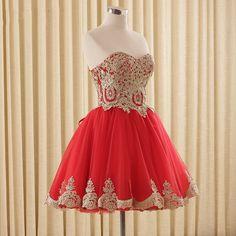 Vestidos De Noche de ouro Lace Tulle Vestidos Curtos Prom Vestido de Noite Lovely Girl Clube Prom Party Vestido Lace up Vermelho 2016 em Vestidos de Baile de Estudantes de Casamentos e Eventos no AliExpress.com | Alibaba Group