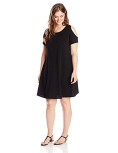 Yours Clothing Womens PlusSize Cold Shoulder Crepe Swing Dress Black 24 -- Click on the image for additional details.