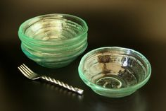 Recycled Glass Bowls Spiral Set of 4 by RecycledGlassworks on Etsy #sfetsy2013