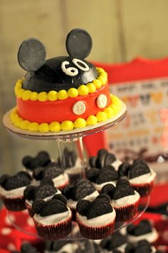 Mickey Mouse Birthday Party Cake Cupcakes Topper Oreo Ears - TheNewlywedPilgrimage.com