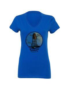 Women's T Shirt Vintage Lighthouse Size S M L XL (13 Colors Available) V-Neck