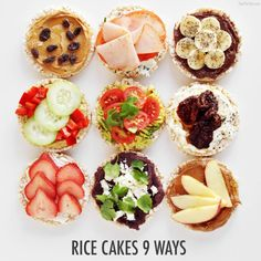 9 Ways I love Rice Cakes! See how I transformed my favorite snack 9 different ways!I love Rice Cakes! See how I transformed my favorite snack 9 different ways! Rice Cake Snacks, Rice Desserts, Rice Cakes, Clean Eating Snacks, Healthy Snacks, Healthy Recipes, Protein Snacks, Healthy Breakfasts, Healthy Eating