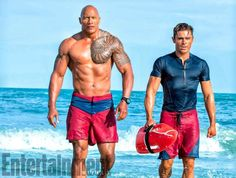 Dwayne Johnson and Zac Efron in Baywatch (2017). Entertainment Weekly.
