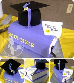 Shared Graduation Cakes (Bible, diploma and cap) by The Cake Mom & Co.