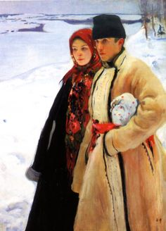 He started painting in a realistic manner but later changed to more impressionistic. He was Ukrainian and worked for a national art movement. He was shot in Art Nouveau, Russian Folk, Russian Art, Illustrations, Illustration Art, Kunst Online, Russian Painting, Ukrainian Art, National Art