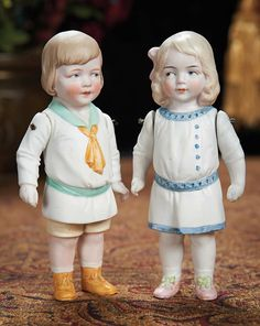 The Lifelong Collection of Berta Leon Hackney: 533 Two German All-Bisque Costumed Children by Hertwig