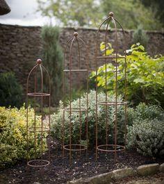 Garden Obelisk - Aged Metal Planting Supports - Pack of 3