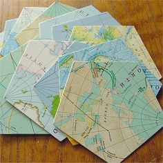 Game Pieces MAPS Pentagons for Altered Art by seriousbeader, $2.50