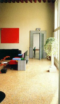 """Living Room for Munari Apartment"" in Venice 1985 by Ettore Sottsass 