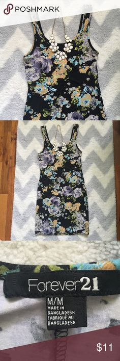 NEW LISTING ✨Adorable Dress✨ Flower tank top dress from Forever 21. Size medium. Worn, but in good condition. Very comfortable. 95% cotton, 5% elastane. Fit is snug Forever 21 Dresses Mini